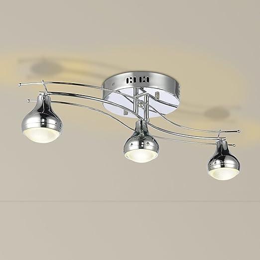 Punto de riel de la barra punto de luz de techo JDONG Modern LED 3 Spots 3 x=5W 15W lámpara de techo lámpara de techo (plata) [energética A +]