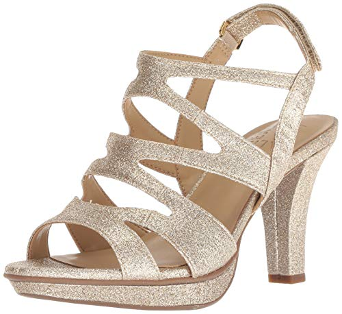 Naturalizer Women's Dianna Strappy Heeled Sandal, Gold, 8 M US