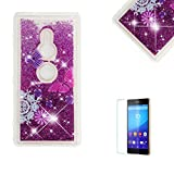 Funyye Glitter Liquid Case for Sony Xperia XZ2,Stylish Multi-Coloured Sparkle Quicksand Purple Butterfly Design Ultra thin Transparent Shell Case for Sony Xperia XZ2,Soft Flexible Silicone Gel TPU Bumper Back Cover Case for Sony Xperia XZ2 + 1 x Free Screen Protector