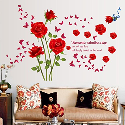 Lavany Wall Stickers For Bedroom,Removable Fashion Rose Flower PVC Wallpaper For Kids Living Room Bathroom Office Home Decoration (Red)
