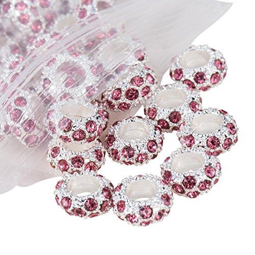 Rose Pink Glass Rhinestones - Pandahall 100PCS Pink Alloy Rhinestone Large Hole European Beads, Silver- 11x6mm, Hole: 5mm