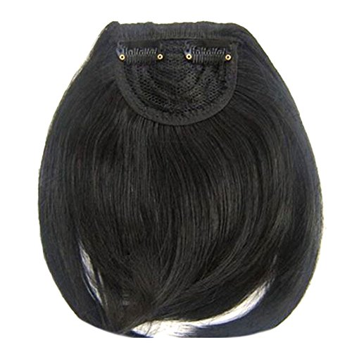 Weixinbuy Girls Clip on Front Neat Bang Straight Cosplay Wig Black