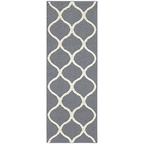 Maples Rugs Runner Rug - Rebecca 1'9 x 5' Non Skid Hallway Carpet Entry Rugs Runners [Made in USA] for Kitchen and Entryway, Grey/White - smallkitchenideas.us