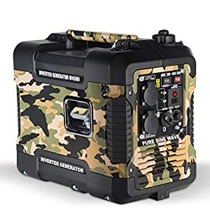 Böhmer-AG Camo Petrol Inverter Generator W4500i, 1.9 KW, Ultra Low Noise – UK Plugs