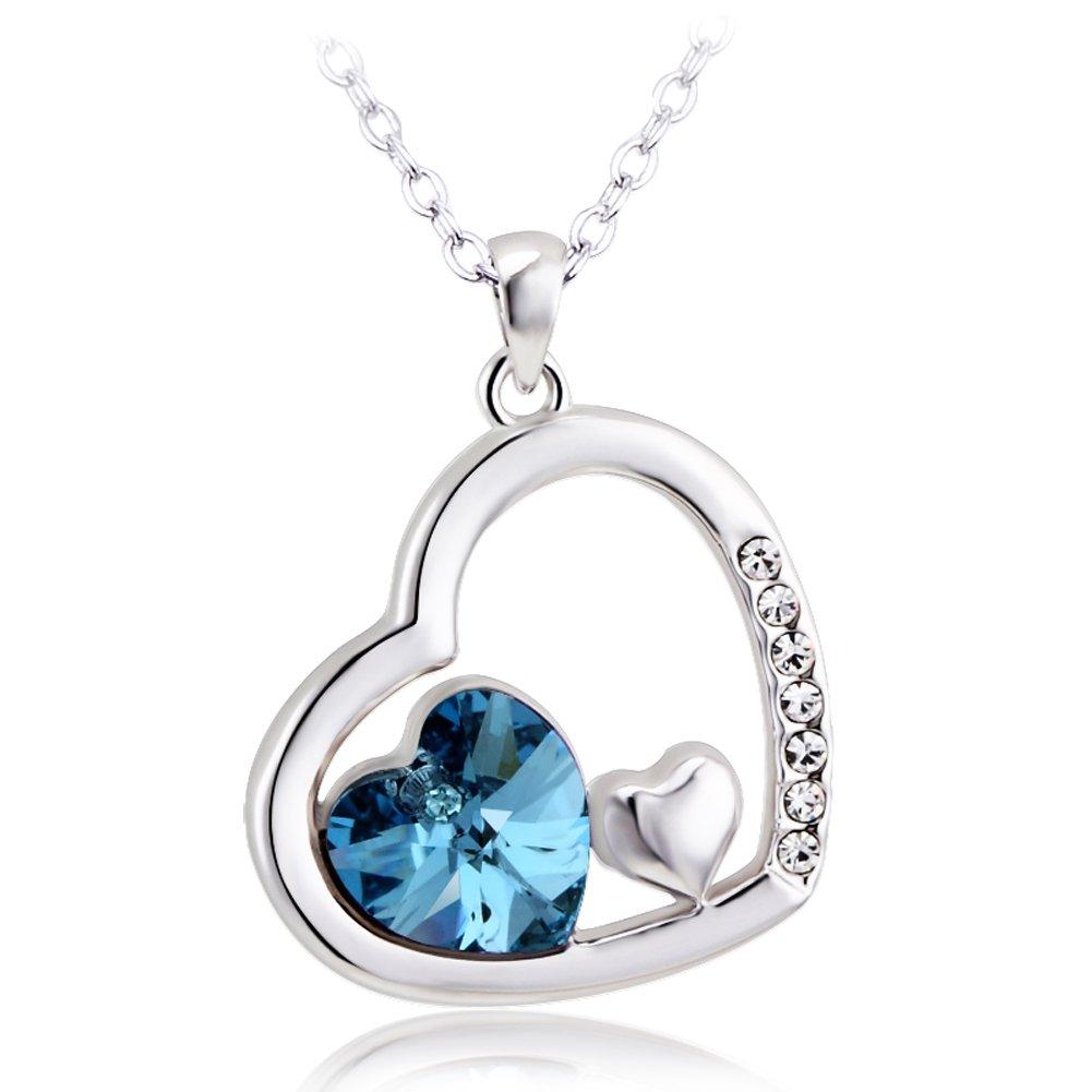 KOLOVEADA Women Necklace Heart Love Crystal Pendant Necklace Blue Cubic Zirconia Crystal Neckalce Gift