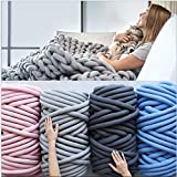 """AoSiFu Giant Chunky Knitted Blanket Handwoven Cotton Knitting Throw Bed Sofa Couch Home Decor Super Warm Machine Washable Gray 20""""x20"""""""