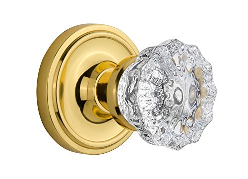 Nostalgic Warehouse BN22-CLACRY-PB Classic Rosette with Crystal Double Dummy Knob, Polished Brass