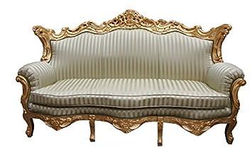 Casa Padrino Barock 3er Sofa Master Jadegrn Beige Gold 2Mod