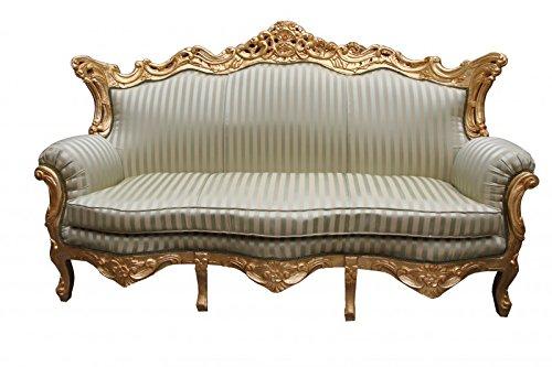 Casa Padrino Barock 3er Sofa Master Jadegrün/Beige / Gold 2Mod - Wohnzimmer Couch Möbel Lounge