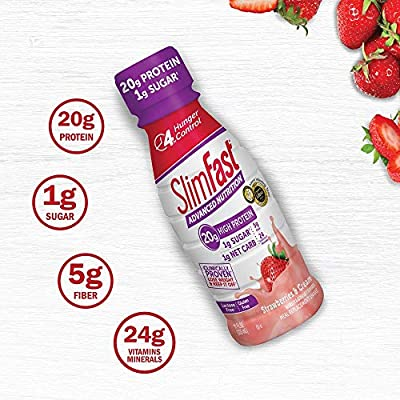 Slimfast Advanced Nutrition Meal replacement protein Shake, Strawberries & Cream, - Ready To Drink - 20g of Protein - Keto Friendly - 11 Fl. Oz. Bottle - 12Count