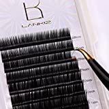 LK LANKIZ Flat Lash Extensions D Curl 0.15mm Mixed Tray, Extremely Softer Touch Individual Ellipse Eye Lash Extensions, Light Lashes Extension Supplies Professional Salon Use. (C. curl 0.15mm)