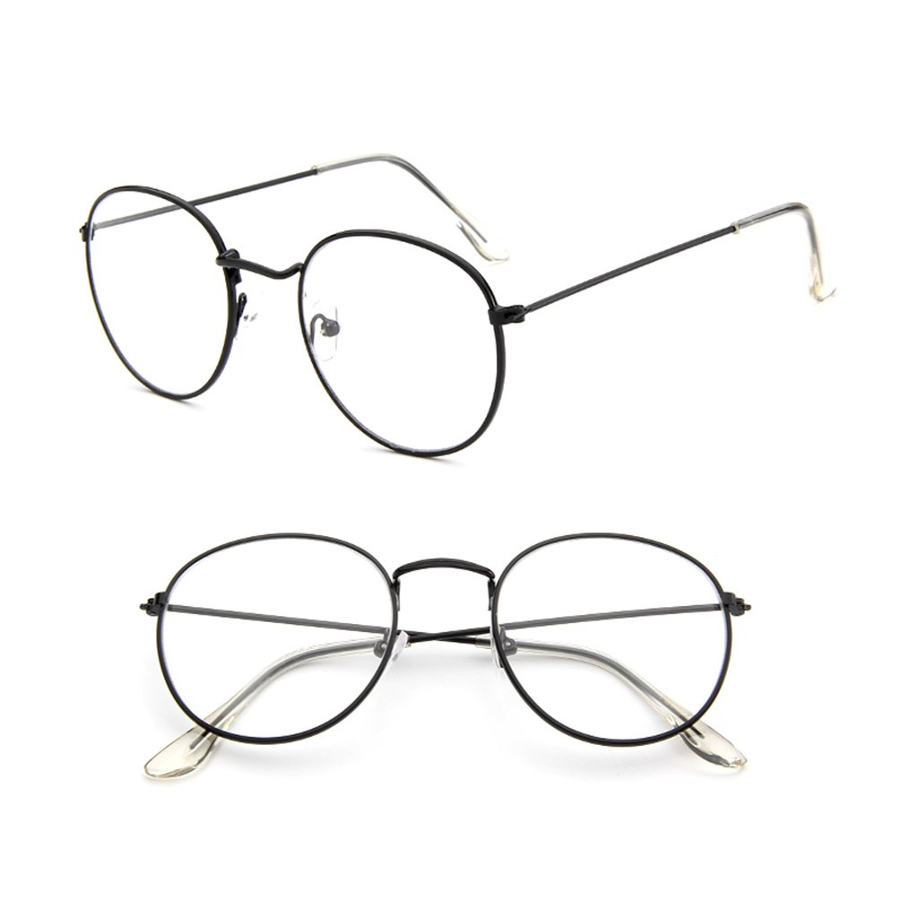 fa327c6c96 Amazon.com  Misright Vintage Men Women Eyeglass Metal Frame Glasses Round  Spectacles Clear Lens Optical (Bright Black)  Health   Personal Care