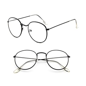 dbd1c9295a81 Image Unavailable. Image not available for. Color  Misright Vintage Men  Women Eyeglass Metal Frame Glasses Round Spectacles Clear Lens Optical  (Bright Black