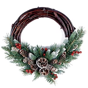 National Tree 16 Inch Frosted Berry Grapevine Wreath (FRB-16GV-1) 81