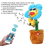 Leegoal Singing Dancing Saxophone Sunflower, Plush Stuffed Electric Toy Animated Dancing Flower Light Music Doll for Kids
