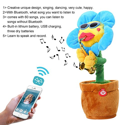 Leegoal Singing Dancing Saxophone Sunflower, Plush Stuffed Electric Toy Animated Dancing Flower Light Music Doll for Kids - Voice Activated Crib Light