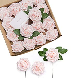 Ling's moment Artificial Foam Rose Flowers 16pcs Large Hybrid Tea Roses Head with Stem for Wedding Flower Decoration 17