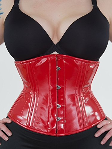 Red Vinyl Corset (Orchard Corset CS-411 Red PVC Underbust - Size 18)