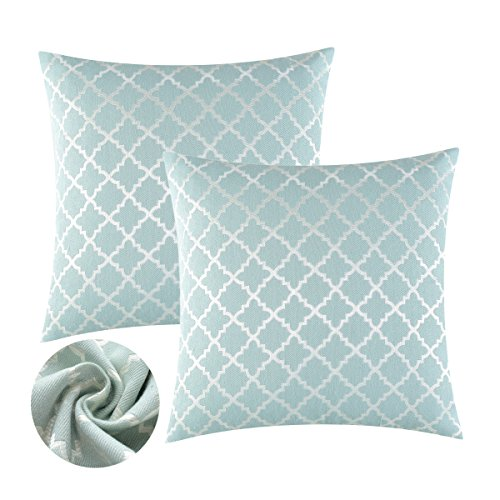 KEYNOTES Blue Throw Pillow Covers 20x20, [Set of 2] Soft Accent Home Decorative Cushions Covers, Square Geometric Aqua Turquoise Cotton Throw Pillow Cases Shams with Zipper for Couch Sofa Bed Chair
