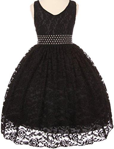 Big Girls' V Shape Neckline Pearl Waistband Flowers Girls Dresses Black 14 (S30H33)