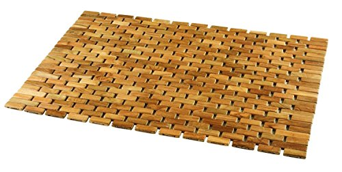 Conair Home Pollenex Solid Teak Roll-Up Folding Shower Spa Mat, DPSHMATR (Pack of 2) (Conair Shower Mat)