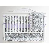 7 Pieces Set Grey Purple Floral Baby Crib Nursery Bedding Set With Bumper (purple)