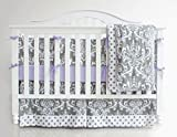 Sahaler Baby Crib Bedding Set for Girls Boys | 7 Pieces Set of Floral Nursery Bedding | Baby Blanket & Fitted Crib Sheets & Skirt & Bumper - White Floral on Grey/Purple