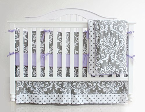 7 Pieces Set Grey Purple Floral Baby Crib Nursery Bedding Set With Bumper - With Purple Grey