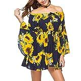 Women's Sexy Summer Beach Bohemian Off-The-Shoulder Sunflower Print Casual Mini Dress with Elastic Belt (Yellow, L)