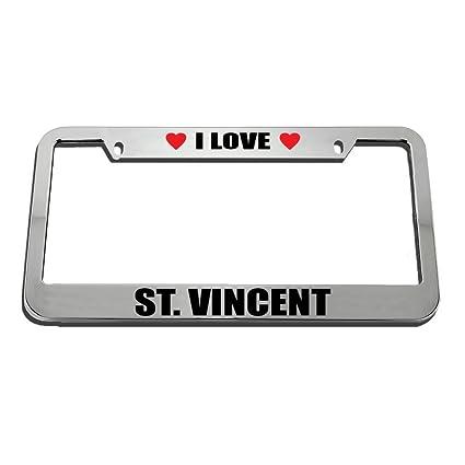 Amazon.com: I Love St. Vincent License Plate Frame Tag Holder KSLIDS ...