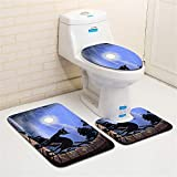 Halloween Bath Mat, Businda Set Bathroom Decorations Non-Slip Pedestal Rug + Lid Toilet Cover + Bath Mat