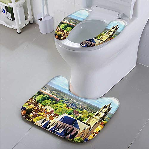 (Use The Toilet seat Old Medieval Church and Gothic Town Middle Age Renaissance Europe Building Non-Slip)