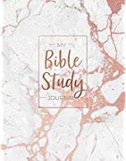 My Bible Study Journal: Beautiful Rose Gold Marble Bible Study and Prayer Journal for Women