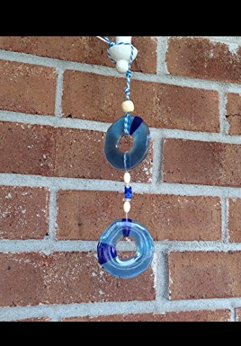 Soothing Blue Circles Recycled Melted Acrylic Beads Rainbow SunCatcher Mobile