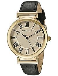 Anne Klein Women's AK/2136CRBK Gold-Tone and Black Leather Strap Watch