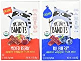 Nature's Bandits Organic Fruit & Veggie Stix, Variety Pack (Blueberry & Mixed Berry), 0.6 Ounce 5 Pack (2 Count) Gluten...