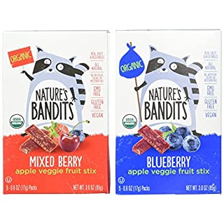 Nature's Bandits Organic Fruit & Veggie Stix, Variety Pack (Blueberry & Mixed Berry), 0.6 Ounce 5 Pack (2 Count) Gluten Free, Vegan, Kosher