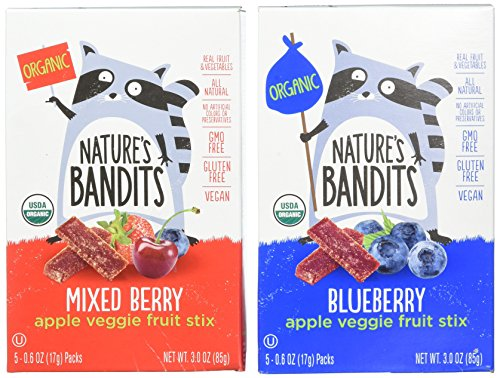 (Nature's Bandits Organic Fruit & Veggie Stix, Variety Pack (Blueberry & Mixed Berry), 0.6 Ounce 5 Pack (2 Count) Gluten Free, Vegan, Kosher)