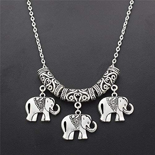 Mens necklace Indian Ethnic Style Bohemian Animal Silver Plated Elephants Pendant Necklace