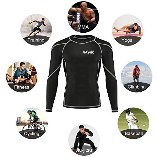 Hawk Sports Mens Compression Shirts Base Layer Athletic Gym MMA BJJ Rash Guard No Gi Full Long Sleeve Rashguard Shirt for Men (Black, XXX-Large)