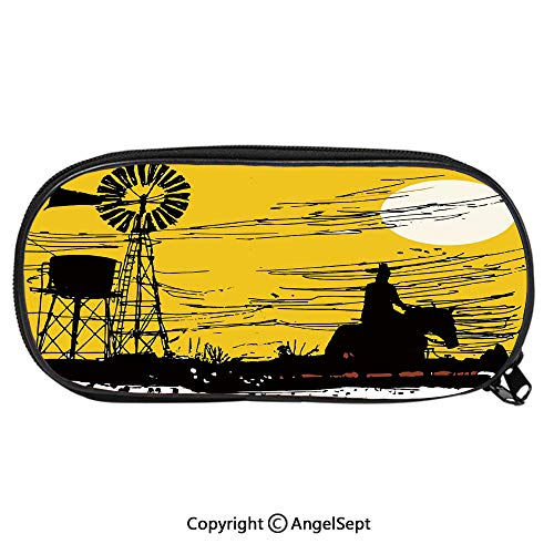 2264D Printing Pattern Pencil CaseAustralian Outback Inspired Artwork Cowboy on Horse at Sunset for Children Teenager Pen Box Pencil Pouch Desk for Boys and GirlsEarth Yellow Black White]()