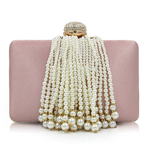 arl Beaded Tassels Handbag Clutch Purse for Cocktail Wedding Pink ()