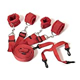 Bed Restraints Kit System, Premium Medical Grade Strap with Soft Furry Comfortable Wrist and Ankle Cuffs for Sex Role Cosplay (Red)
