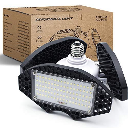 LED Garage Lights, 55W Deformable LED Garage Ceiling Lights 7200LM, 6000K Daylight White,400 Watt Equivalent, CRI 80 LED Corn Light Bulbs, LED Shop Lights for Barn, Work Light