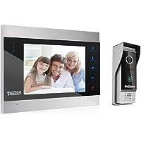 TMEZON Video Türsprechanlage Türklingel Intercom System, Türsprechanlage mit 7 Zoll 1-Monitor 1-Kamera Für 1-Familienhaus, Touch-Taste, Nachtsicht, Unterstützung automatisch Snapshot/Aufnahme