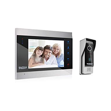 TMEZON Video Door Phone Doorbell Intercom System,Door Entry System with 7  Inch 1-Monitor 1-Camera For 1-Family house,Touch Button, Night