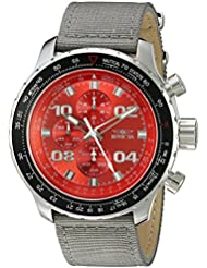 Invicta Mens 18780SYB Aviator Stainless Steel Watch With Grey Nylon Band