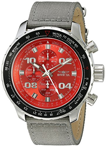 (Invicta Men's 18780SYB Aviator Stainless Steel Watch With Grey Nylon Band)