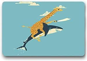 """Funny Rubber Door Mat Front Doormat Giraffe Riding Shark Floor Mat Indoor Outdoor Waterproof Doormats Novetly Gifts Idea Non Slip Heavy Duty Entryway Rugs (L23.6""""X15.7""""W)"""