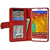 Navor Samsung Galaxy Note 3 Book Style Folio Wallet Leather Case with Money Pocket, Card & ID Window Slots with Clear Screen Protector Included (Red)